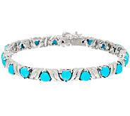 Sleeping Beauty Turquoise Heart Cut 7-1/4 Sterling Tennis Bracelet - J324531