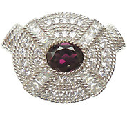Judith Ripka Sterling Diamonique & Rhodolite Magnetic Pendant - J338031