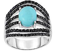 Sterling Turquoise & Black Spinel Ring - J341331