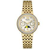 Bulova Goldtone Diamond-Accent Moon Phase Womens Watch - J343131
