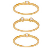 Judith Ripka 14K Set of 3 1/8 cttw Diamond Stack Rings - J348831