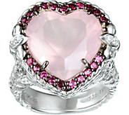 Judith Ripka Sterling Pink Tourmaline & Rose Quartz Heart Ring - J376231
