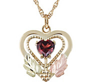 Black Hills Garnet Heart Pendant w/ Chain, 10K/12K Gold - J383931