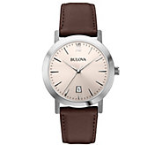 Bulova Mens Stainless Steel Brown Leather Strap Watch - J384431