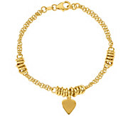 Italian Gold 14K Heart Dangle Bracelet, 4.5g - J384931