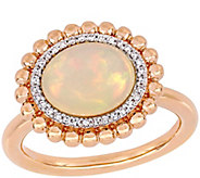14K Gold Ethiopian Opal & Diamond Accent Halo Ring - J385331