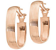 Italian Gold Ribbed Oval Hoop Earrings, 14K - J385531