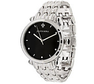 Judith Ripka Stainless Steel Black Agate Link Watch - J387731