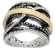Or Paz Sterling Silver & 14K Crossover Ring - J389331