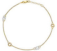 Italian Gold 14K Two-Tone Round Link Station Anklet - J389731