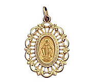14K Yellow Gold Pierced Framed Miraculous Medal - J108232