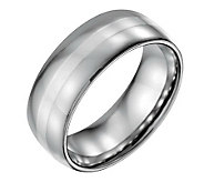 Forza Mens 8mm Steel w/ Sterling Silver InlayPolished Ring - J109532