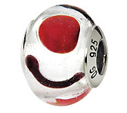 Prerogatives Sterling White & Black Italian Murano Glass Bead - J111532