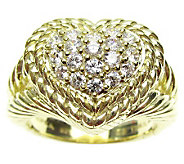 Judith Ripka Diamonique Pave Heart Ring, 14K Clad Sterling - J312332