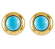 Round Turquoise Omega Back Stud Earrings, 14K Gold - J314032