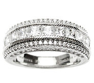 Judith Ripka Sterling Diamonique Round & Princess Band Ring - J314832