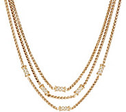 Grace Kelly Collection Triple Row Wheat Chain Necklace - J346332