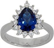 Diamonique and Simulated Tanzanite Pear Ring, Platinum Clad - J349932