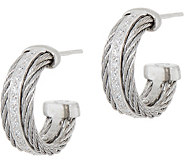 ALOR Cable Stainless Steel & Diamond Hoop Earrings - J352532