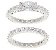 Diamonique East-West Eternity Band Ring Set, Sterling Silver - J355032