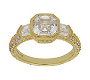 Judith Ripka 14K Clad 2.80 cttw Asscher-Cut Diamonique Ring - J382432