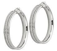 Italian Silver 1-1/2 Glitter Channel Hoop Earrings - J382932