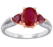 14K 2.55 cttw Ruby & 1/7 cttw Diamond 3-Stone Ring - J392232