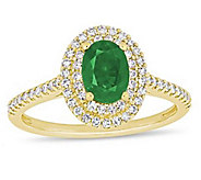 14K 0.75 cttw Emerald & 3/10 cttw Diamond Cocktail Ring - J392532