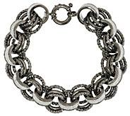 Italian Silver Sterling 7-1/4 Pave Glitter Rolo Link Bracelet, 39.2g - J285533