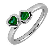 Simply Stacks Sterling & Created Emerald Double-Heart Ring - J299333