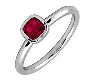 Simply Stacks Sterling & Cushion Cut Created-Ruby Ring - J299433