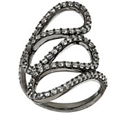 As Is Italian Silver Sterling Crystal Swirl Design Ring - J328333