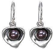 Hagit Sterling Cultured Pearl Contemporary Heart Earrings - J342733
