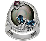 Carolyn Pollack Sterling Silver Black Mother of Pearl Butterfly Ring - J349433
