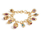 Arte d Oro 36.00 cttw Gemstone Charm 6-3/4 Bracelet 18K Gold - J350633