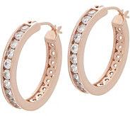 Diamonique Channel Set Hoop Earrings, Sterling or 14K Gold Clad - J355033
