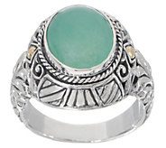 Artisan Crafted Sterling Silver & 18K Gold Oval Quartzite Ring - J355433
