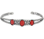 American West Three Stone Gemstone Sterling Silver Cuff - J356033