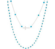 Italian Silver Cross Motif Gemstone Necklace Set - J356233
