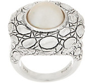 JAI Sterling Silver Cultured Pearl Croco Ring - J358833