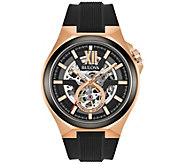 Bulova Mens Automatic Rosetone Watch w/ BlackSilicone Strap - J375133