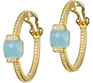 Judith Ripka 14K Clad Milky Aquamarine Hoop Earrings - J376533