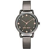 Nine West Womens Gunmetal Star & Moon Bangle Watch - J384333