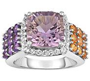 Sterling 5.00 cttw Multi-Gemstone Cushion-Cut Halo Ring - J384533