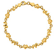 14K Gold Heart and Elephant Link Bracelet, 4.1g - J384933