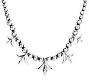 American West Sterling Squash Blossom Station Beaded Necklace - J385233