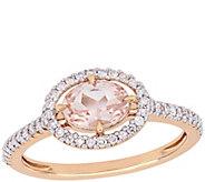 14K Gold 0.70 cttw Morganite & 1/5 cttw DiamondHalo Ring - J385333
