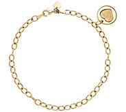 14K Gold Dangle Heart Charm Bracelet - J385433