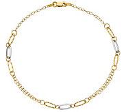 Italian Gold 14K Two-Tone Oblong Link Anklet - J389733