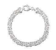 UltraFine Silver 7-1/4 Polished Byzantine Bracelet, 12.2g - J111634